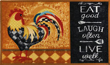"RARE PRINTED NYLON KITCHEN RUG (nonskid back) (18"" x 30"") ROOSTER, Eat good"