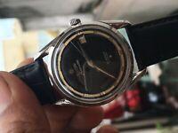Titoni Airmaster titoflex black dial mens vtg date watch 21 jewels ref 305-345
