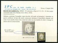 Sardegna 1858 Sass. 14Cb Usato 100% Cardillo Certificato