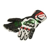 Ducati Motorcycle Cowhide Leather Racing Motorbike Gloves Black & White