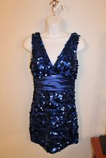 WOMENS BLUE SLEEVELESS SEQUINED PARTY DRESS by FOREVER 21 SIZE SMALL