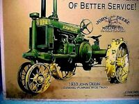 """JOHN DEERE 1933 WIDE-TREAD TRACTOR TIN SIGN 13"""" T x 16"""" W NICE REPRODUCTION SIGN"""