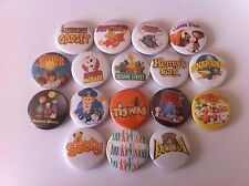 17 badges Tiswas Danger Mouse Trap Door Chucklevision Bananaman CBBC