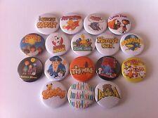 17 badges Tiswas Danger Mouse Trap Door Chucklevision Bananaman CBBC