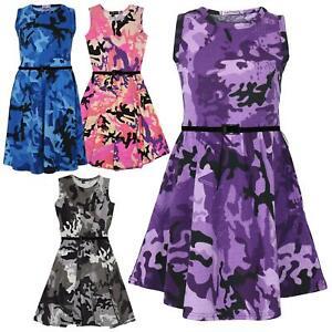 Girls Skater Dress Kids Designer's Camouflage Print Summer Party Dresses 5-13 Yr