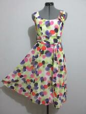 """Retro """"NWT"""" Colourful DRESS Sz 8 - 10 White Yellow Black Pink Cocktail Casual"""