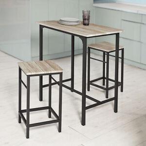SoBuy® Bartisch Set,3-teilig Stehtisch,Bistrotisch m. Stühlen,Sitzgruppe,OGT10-N