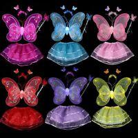 Toddler Baby Kids Girls Fairy Butterfly Wing Tutu Skirt Headband Cosplay Costume