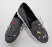 Steven Steve Madden GERRY Gray Women's Jeweled Slip-On Sneakers Shoes Size US 6