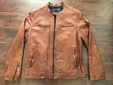 NWOT LEVI'S MEN'S Distressed Brown Leather Motorcycle (Biker) Jacket – L