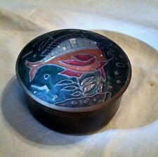 "Vtg. Fish Antique Ornate Metal 4""x 2"" Round Copper Case Jewelry Trinket Box Tin"