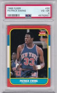RG: 1986 Fleer Basketball Card #32 Patrick Ewing Rookie NY Knicks - PSA 4