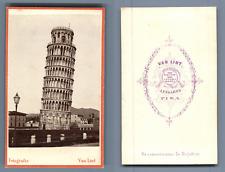 Van Lint, Italia, Torre di Pisa  CDV vintage albumen. Vintage Italy  Tirage al
