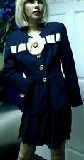 Vtg 80S-90S Gemma Kahng Bergdorf Goodman Suit Skirt Jacket Navy Wool Size 4-6