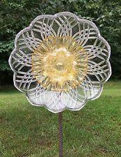Gold Curled & Clear Crystal Glass Garden Flower Repurposed Suncatcher Yard Art