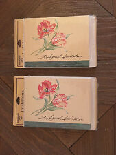 Pink Floral Vintage Blank Invitations w/ Envelopes- 2 Sealed Packs Of 8 Each