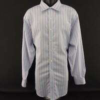 Mens Brooks Brothers 1818 Supima Cotton Blue Striped Dress Shirt Size 18 36 2XLT