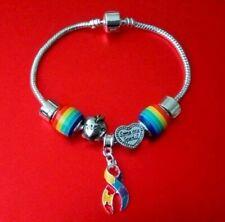 Autism Awareness European Silver Puzzle Ribbon Charm Bead Bracelet Teacher Gift