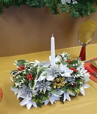 Artificial Christmas Table Centrepiece WhitePoinsettias Roses Berries Holly Ivy3