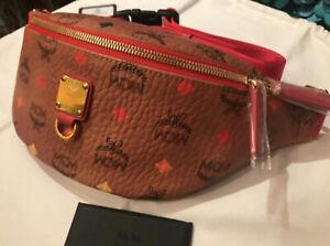 Authentic MCM Belt Bag Clutch Pouch Spectrum Diamond Cognac Limited Edition+bag