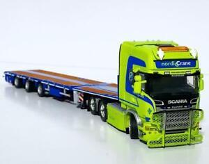 "Scania streamline topline flatbed trailer ""Nordic crane""WSI truck models 01-3418"