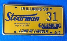Stearman Biplane National Fly-In 1999 Of Illinois License Plate Galesburg 31