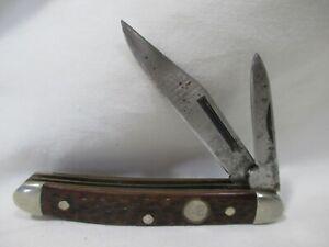 VINTAGE BOKER TREE BRAND 8248 PEANUT FOLDING POCKET KNIFE MADE IN USA 2-BLADE