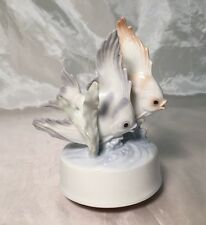 Rare Beautiful Otagiri Porcelain Angel Fish Figurine Rotating Music Box WORKS