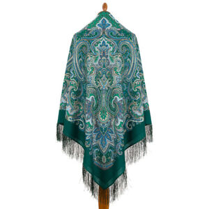 Pawlow Posad/Pavlovo Posad russischer Schal-Tuch Tradition146x146 Wolle 1935-9