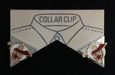 Masonic Shriner Collar Tip Set in Silver Plating with Gold Emblems (Style 4)