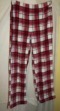 Red white black tartan plaid fleece lounge pajama pants Medium