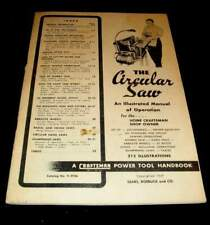 CRAFTSMAN CIRCULAR SAW 1949 ILLUSTRATED MANUAL OF OPERATION