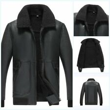 Men's Winter Slim Fit Faux Leather Jacket Black Outwear Casual Coat Bomber New