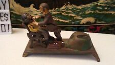 Vintage Cast Iron Mechanical Bank Dentist Pulling Mans Tooth miss printed bottom