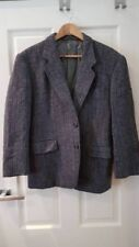 Tailored tweed wool grey sports jacket with leather elbow patches