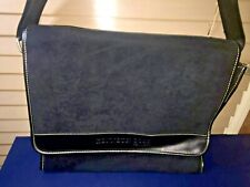 NWOT Kenneth Cole Suede Leather Trim Messenger Bag Case Laptop IMMACULATE Black