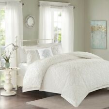Full/Queen Sabrina 4 Piece Tufted Chenille Comforter Set Cotton White Madison