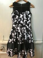 WOMENS WHITE HOUSE BLACK MARKET FLORAL PRINT SLEEVELESS FIT AND FLARE DRESS 00