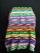"Vtg Hand Crocheted Afghan Blanket Throw Techni Multicolor 66"" x 38"" Beautiful"