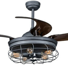 Industrial Ceiling Chandelier Fan w/Retractable Blades, 5-Bulb Lamp, Cage Shade