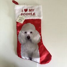 I Love My Poodle Pet Holiday Decor Xmas Stocking Silk Plush Christmas White New