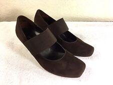 Paul Green womens brown suede slip on heels size 3.5 or U.S. 6 Nice!