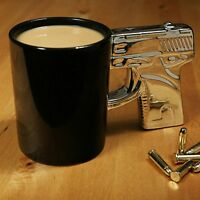 Chrome Handle Gun Mug Brand New Novelty Gift Tea Coffee Ceramic