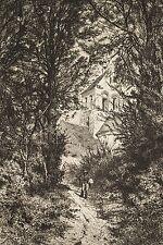 Alfred Alexandre DELAUNEY Gravure 1871 Eglise au bout du chemin et personnage