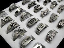 36x Mix Silver Stainless Steel Rings Men Women Fashion Jewelry SKULL LOVE FRIEND