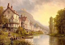"""Huge art Oil painting nice ladnscape old town by the river & fishers canvas 36"""""""