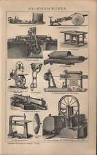 Lithografie 1903: SÄGEMASCHINEN. Maschinen sägen hobeln Holz Technik Kirchner