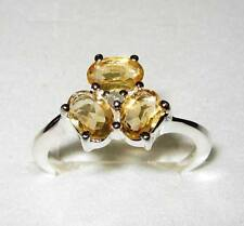 Natural Citrine & Diamond Ring in Sterling Silver.925