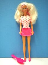 Vintage 1996 Barbie Pink Skirt, White Top with Pink Pretty Hearts, Hairbrush