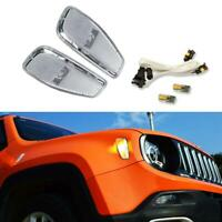 2x White Amber LED Side Marker Lights Indicators Kit For 2014-2016 Jeep Renegade